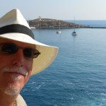 Author Steve Jackson on the island of Naxos, Greece