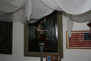 Oil painting and antique flag