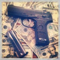 pistol and money