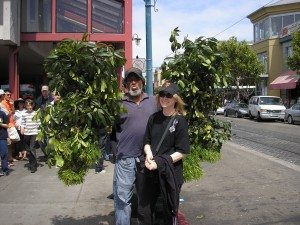 """With the """"bush man"""" in San Francisco."""