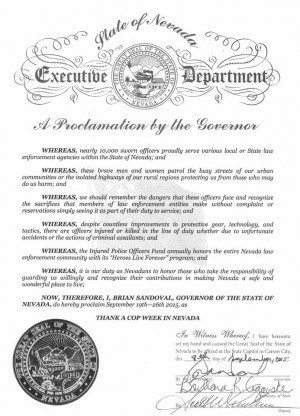 Nevada Governor Brian Sandoval Proclamation