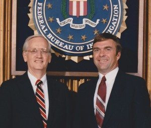 At right: FBI criminal profiler Pete Klismet in this 1985 photo with FBI Director William Sessions, at left.