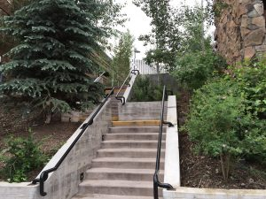 An outdoor stairway at the Wildwood that leads to the pool area and may have been used by Ted Bundy
