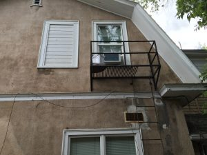 The fire escape leading up to Bundy's 2nd story apartment