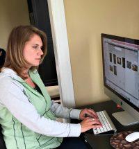 Janice Boekhoff at computer