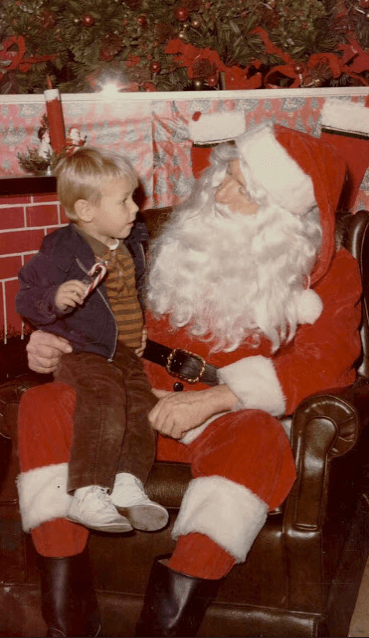 William Devin Howell on Santa's lap, circa 1973. Howell describes a relatively stable childhood.