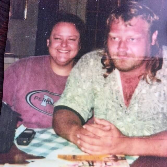 Howell and his girlfriend Dori Holcomb shortly before his killing spree. His eyebrows are white from working long hours in the sun in his lawn-care business. Holcomb died in 2014, when Howell was imprisoned for the murder of Nilsa Arizmendi. Howell says she committed suicide, others say that she died of a heart attack or end stage alcoholism. She believed in Howell's innocence.