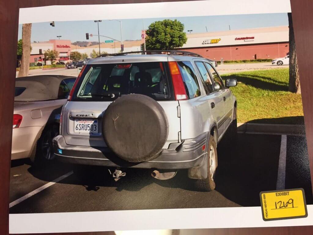 Anthony Garcia's Honda CRV. Evidence Photo
