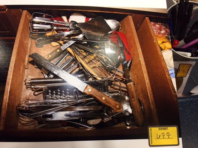 Knife drawer, Brumback home. Evidence Photo