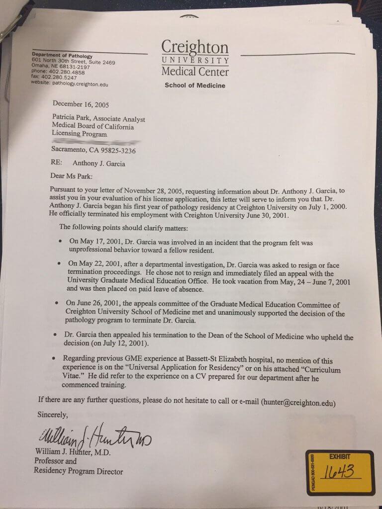 Garcia — Firing letter. Evidence