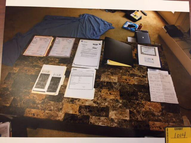 Table Documents in Garcia's Home. Evidence