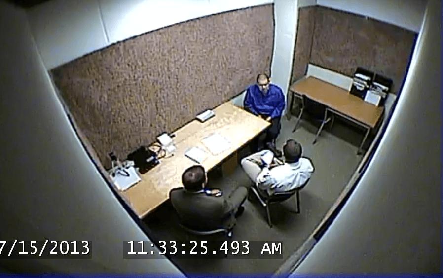 Det. Derek Mois and Det. Scott Warner interview Garcia after arrest.