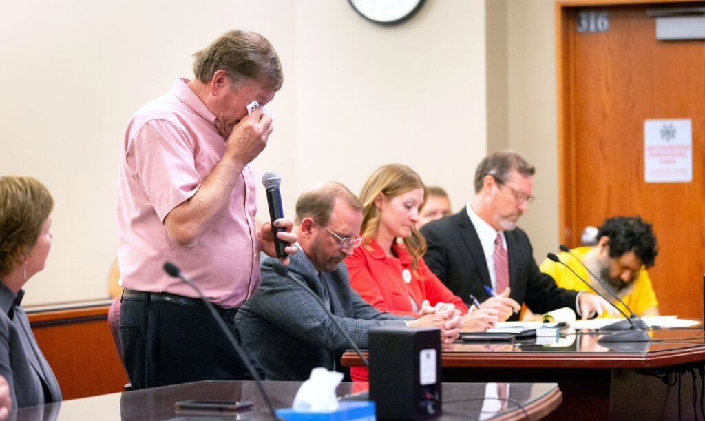 Shirlee Sherman's older brother, Brad Waite, wipes tears while delivering a statement during the sentencing hearing for Anthony Garcia at the Douglas County Courthouse in Omaha, Nebraska Sept. 14, 2018. Garcia was sentenced to death for the murder of four Omahans. Kent Sievers/The World-Herald