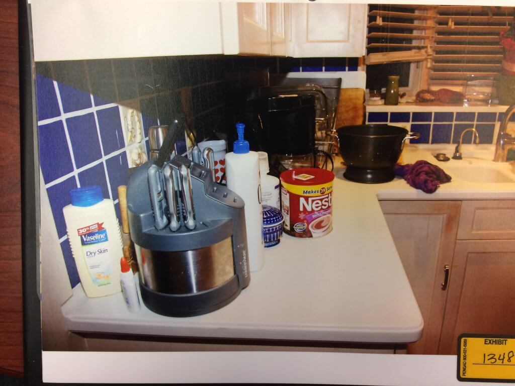 Knife block on Hunter home counter. Evidence Photo
