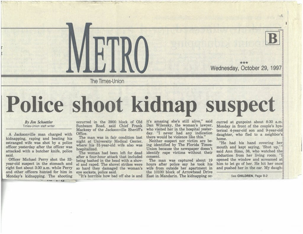 The Jacksonville Metro reported Monique's attack and the police's subsequent shooting of Chris on October 29, 1997.