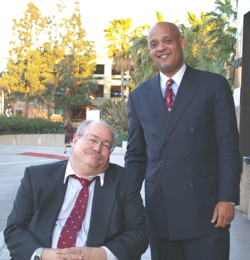 """Crazy John"" Kennedy's defense team: Winston McKesson (right), primary counsel, and Charles Lindner (seated), both Los Angeles attorneys, argued that their client was never in Newport Beach and that he was framed by Long Beach police. Photo by Caitlin Rother"