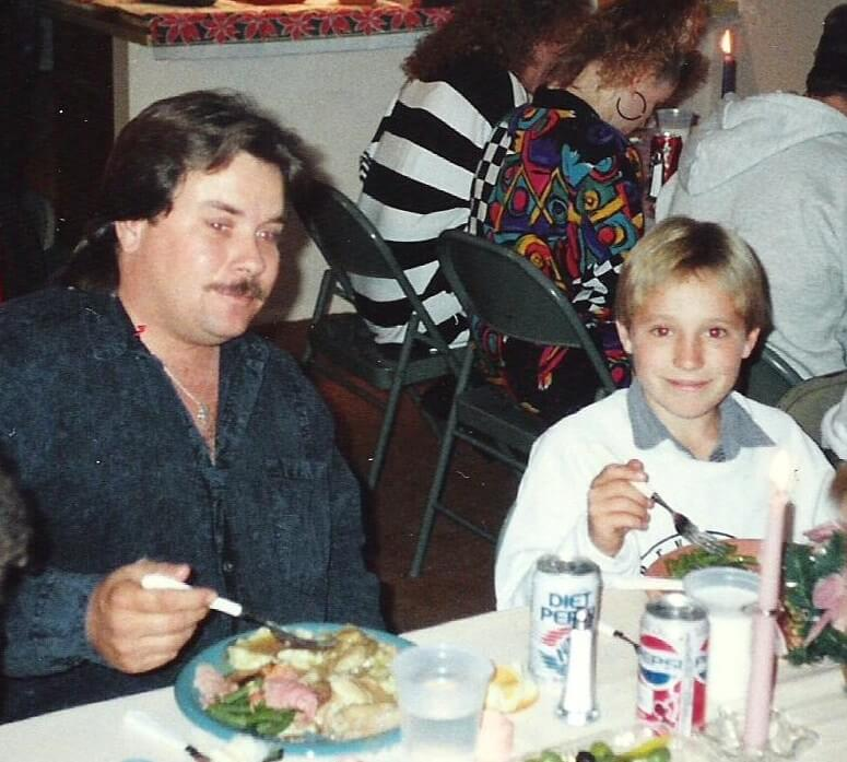 Skylar and his father, both born named John Jacobson, eat Christmas dinner with the Jacobson clan in 1991. His dad, nicknamed Big John, served time in federal prison for drug trafficking. Photo by Bryan Brah