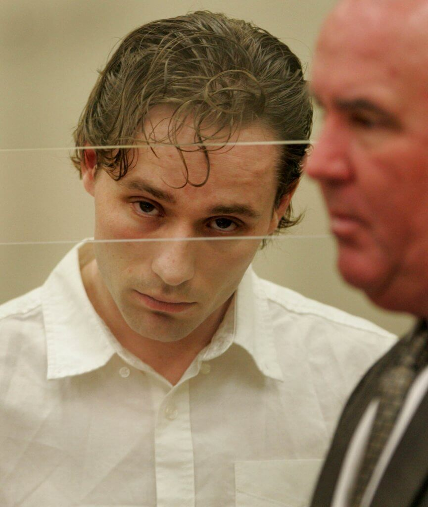 Skylar Deleon looked increasingly thin and feminine, as he appeared with his attorney, Gary Pohlson, at pre-trial hearings. Photo by John McCutchen