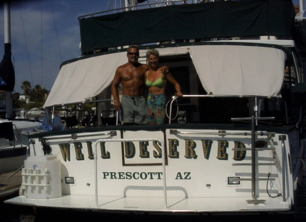 Tom and Jackie lived aboard their fifty-five-foot trawler, the Well Deserved, for two years before deciding to sell it and return to Arizona to spend time with their newborn grandson. Photo by Charles Silvers