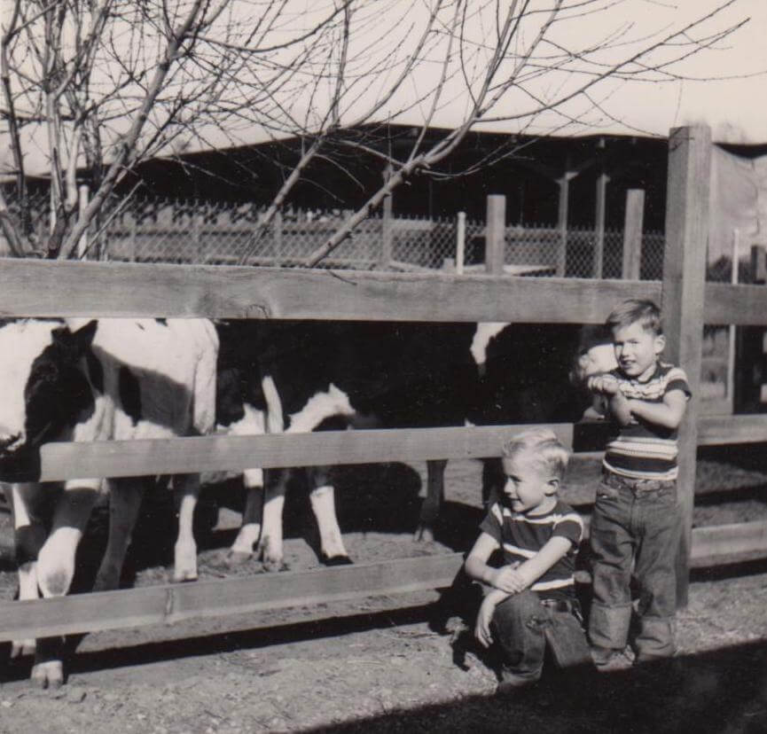 Tom Hawks (right) and his brother, Jim, grew up on a farm in Chino, California, in the 1950s. Photo courtesy of Jim Hawks