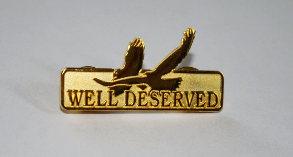 Jim Hawks handed out these pins to detectives and prosecution team to thank them for their work on this case. He also gave one to author Caitlin Rother, which she still treasures today. Photo by Caitlin Rother