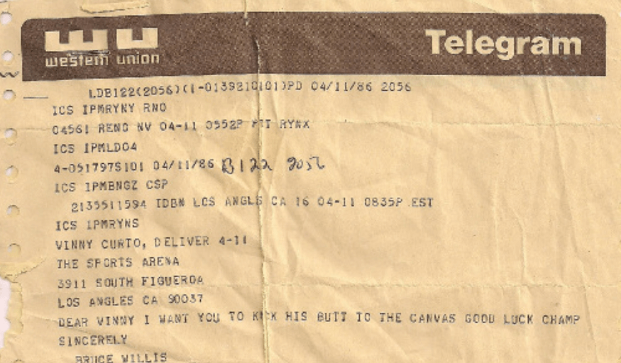 Telegram from Bruce Willis