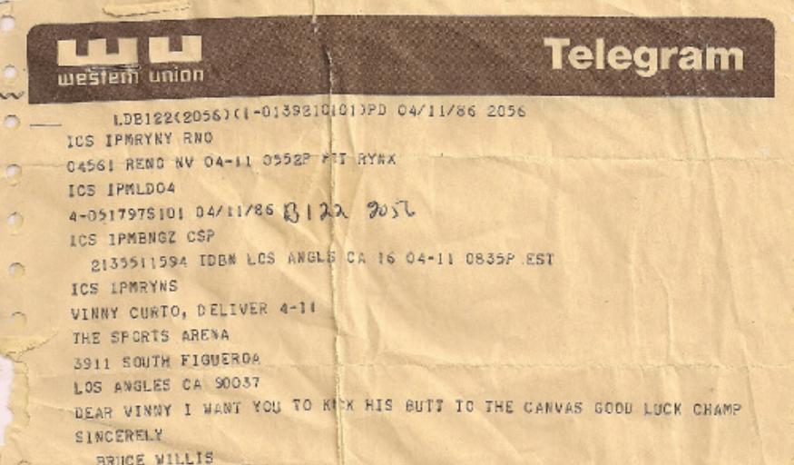 Telegram from Bruce Willis