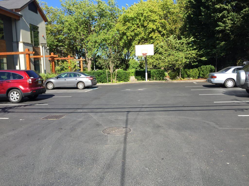 The parking lot, now paved, where Ted Bundy led Georgann Hawkins to his car in the early morning hours of June 11, 1974 and attacked her