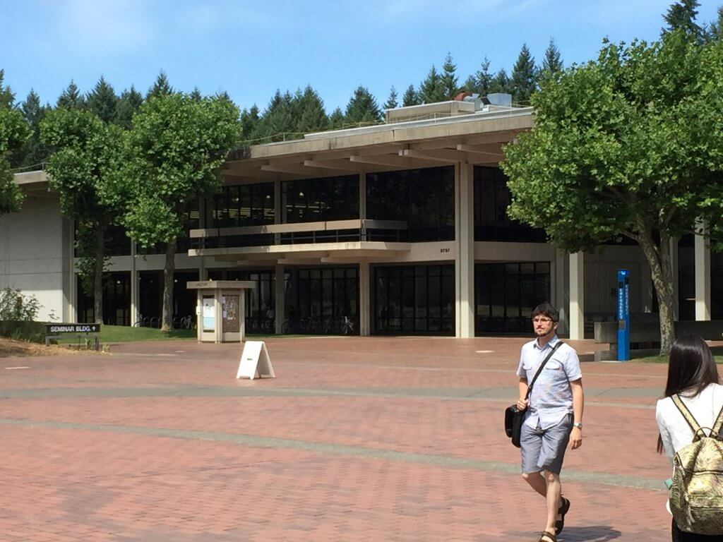 The library at Evergreen State College, to where Donna Manson was heading when she disappeared from a secluded walkway on the campus on March 12, 1974.