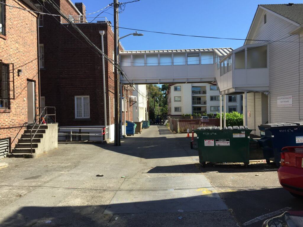 The Seattle, Washington alley that runs behind Greek Row where Bundy encountered Georgann Hawkins and led her away to her death on June 11, 1974