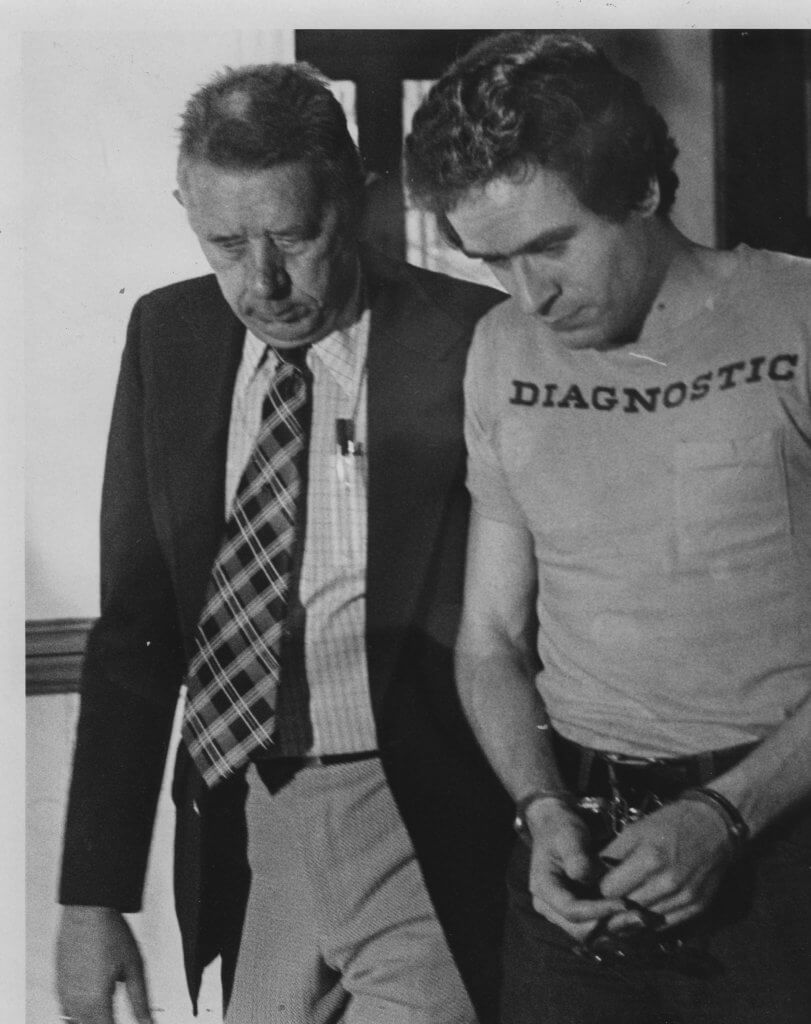 Bundy being led back to jail, Salt Lake City, Utah 1976. Photo by the Salt Lake Tribune