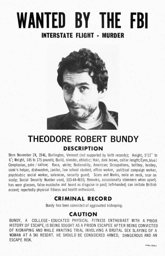 Ted Bundy Wanted Poster