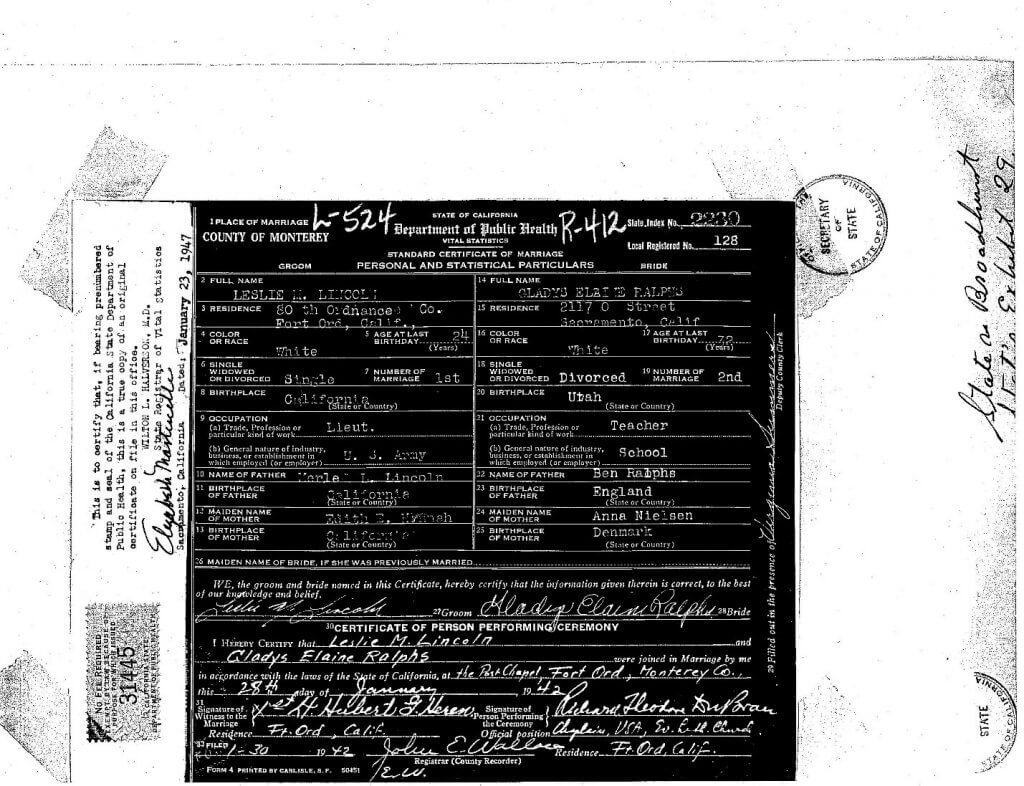 MARRIAGE CERTIFICATE - GLADYS - LESLIE