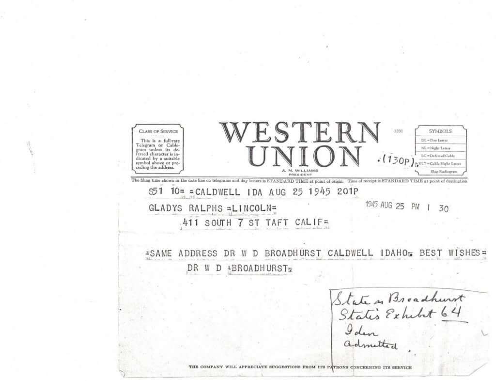 WILLIS TELEGRAM No 1