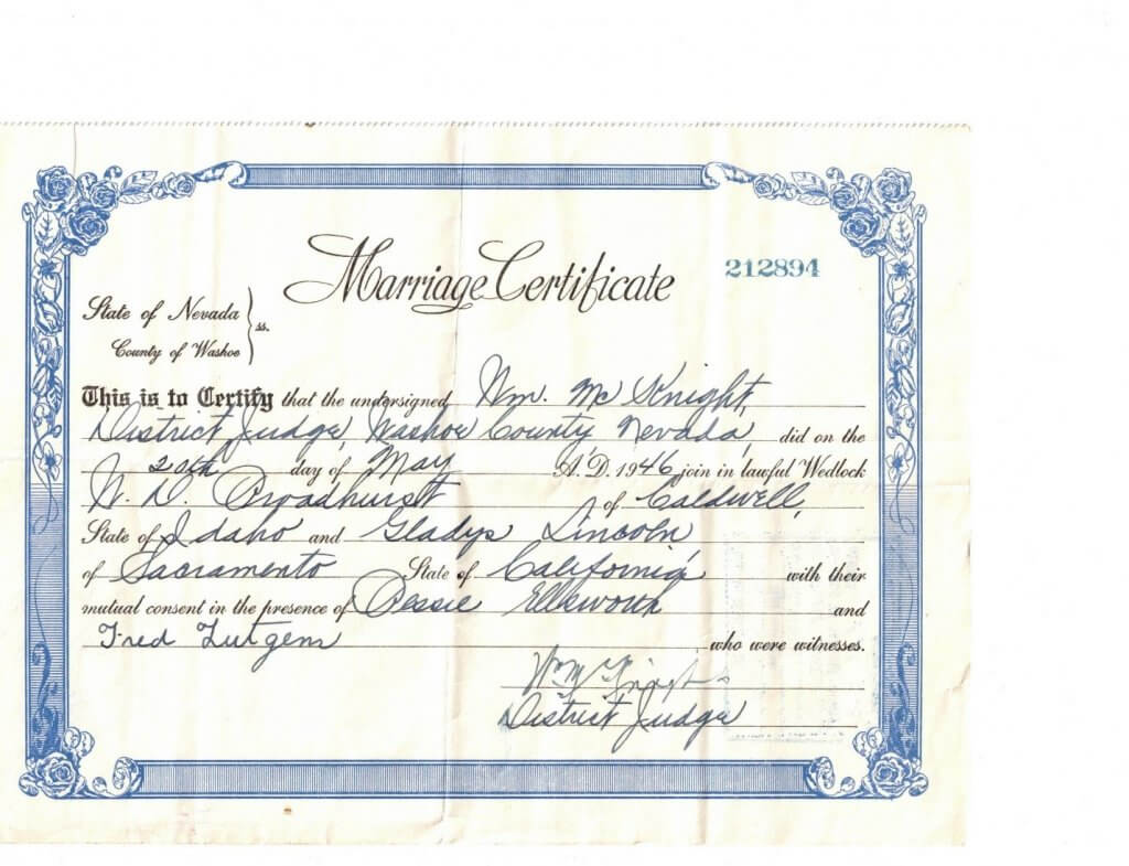 MARRIAGE CERTIFICATE - GLADYS - WILLIS - FRONT