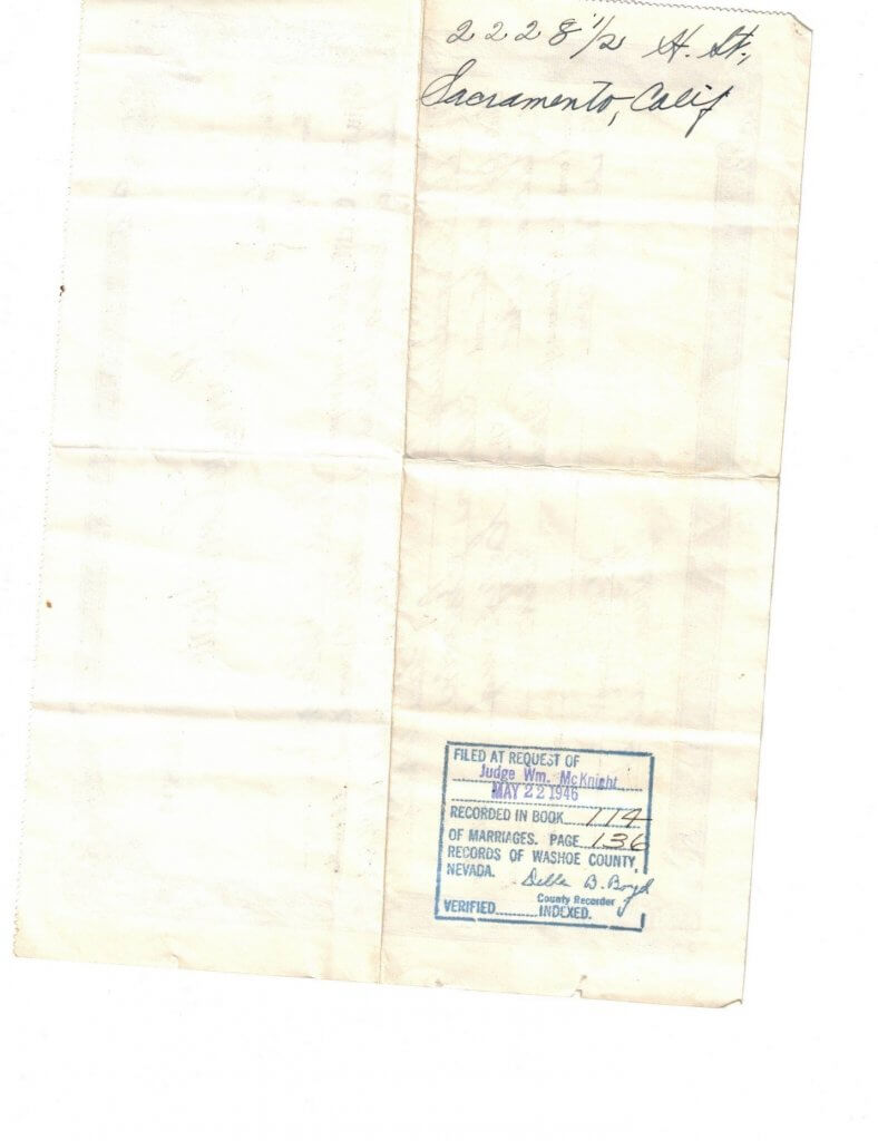 MARRIAGE CERTIFICATE - GLADYS - WILLIS - BACK