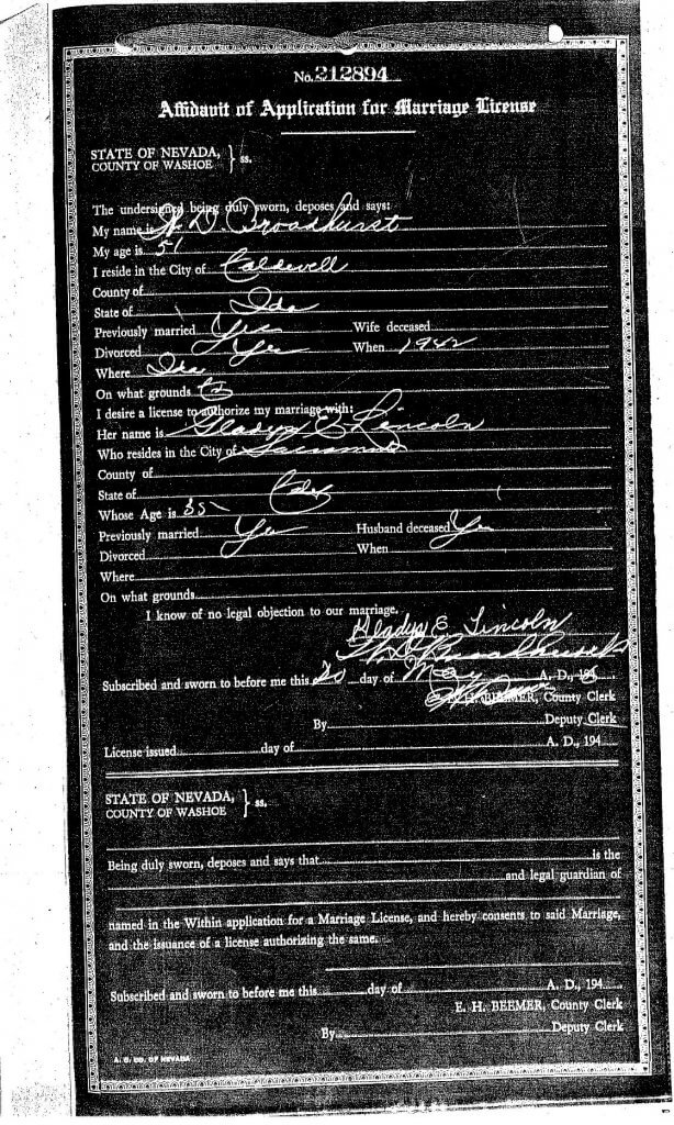MARRIAGE APPLICATION - GLADYS - WILLIS