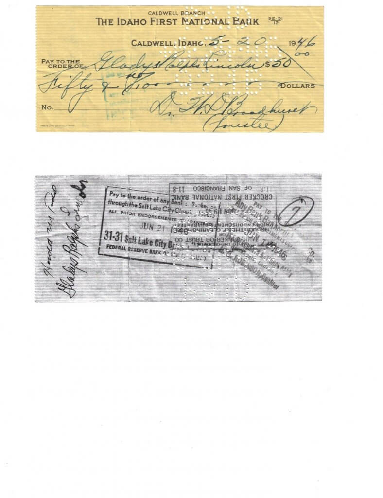 CHECK FROM WILLIS TO NEW BRIDE