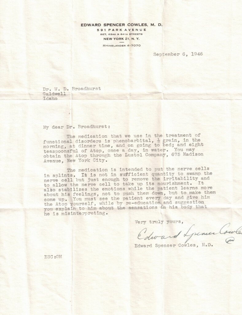 LETTER ABOUT DRUGS