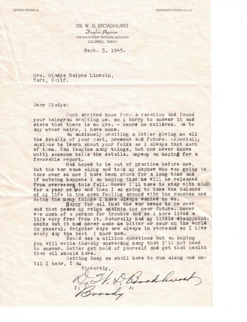 WILLIS LETTER No 1 Letter from Willis dated 9-5-1945