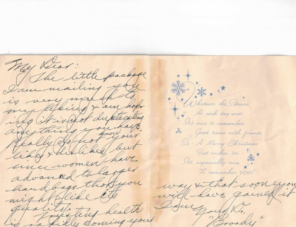 Christmas card from Willis 1945