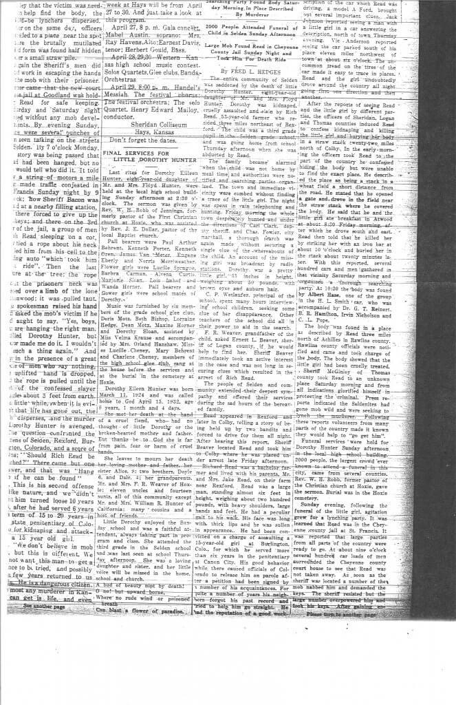 Dorothy's Obituary: The Rexford News, Thomas County, KS