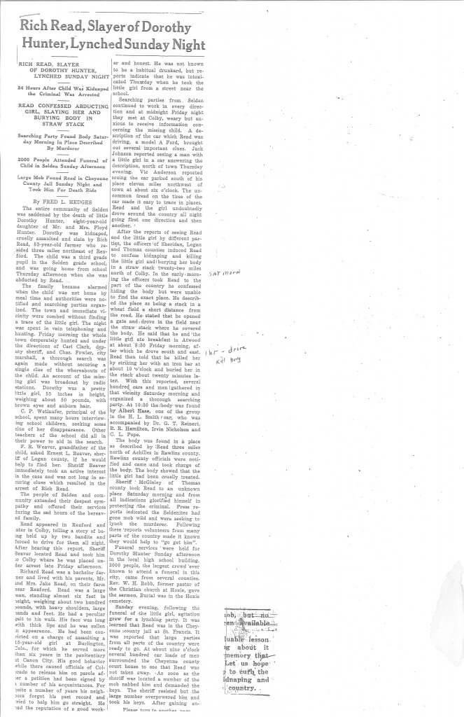 Article 1 Pg. 1 - The Rexford News, Thomas County, KS