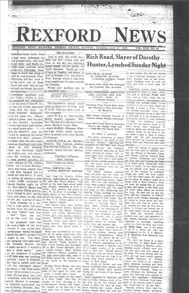 Article 2: (This is a duplicate of Article 1 page 1 from the Rexford News)
