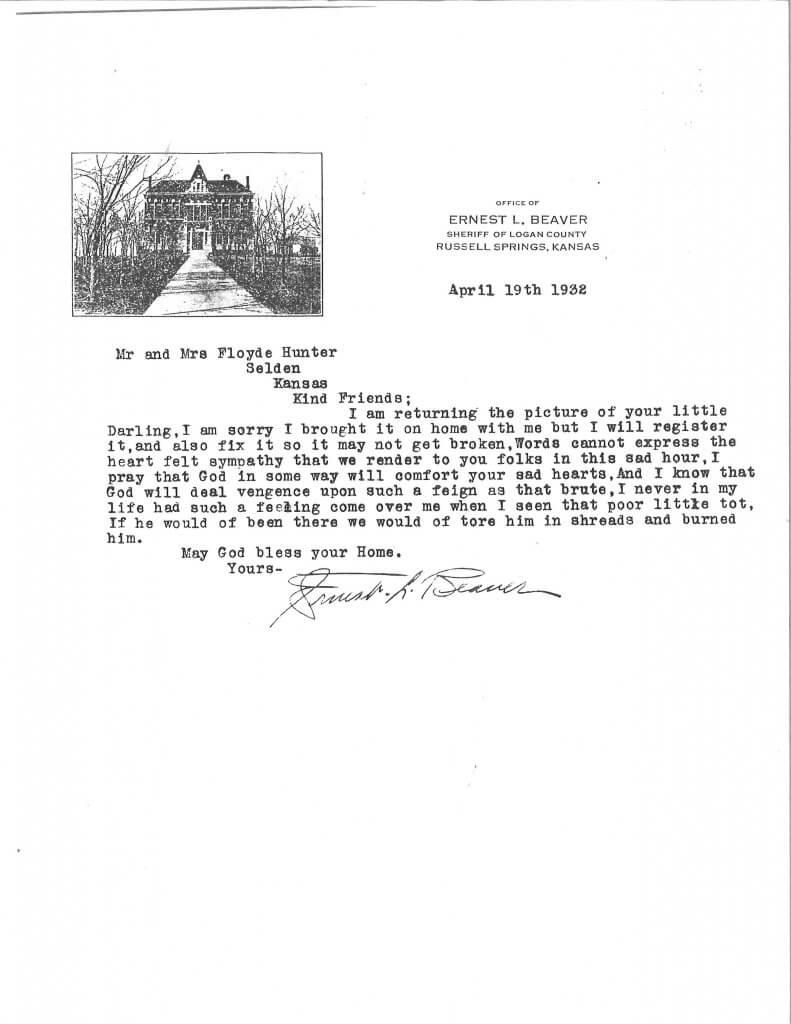 Letter from Sheriff Beaver