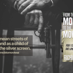 a gangster is pictured from the legs down holding a gun, text: from the mean streets of Brooklyn and as a child of the mob to the silver screen, book cover is pictured which is the author with a city street behind him